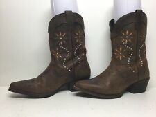 WOMENS UNBRANDED COWBOY SNIP TOE DARK BROWN BOOTS SIZE 7.5 M