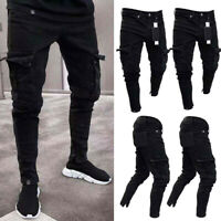 NEW Men's Denim Skinny Biker Jeans Destroyed Frayed Slim Fit Pocket Cargo Pants