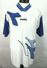 Diadora Mens Soccer Jersey  White Blue Diadora size L Made in Italy