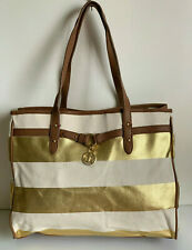 NEW! TOMMY HILFIGER GOLD BEIGE BROWN CANVAS SHOPPER TOTE BAG PURSE $89 SALE