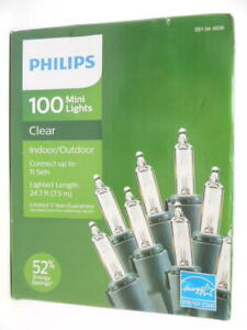 Philips 100ct Mini Lights Clear Indoor/Outdoor 24.7ft Lighted Length, Green Wire