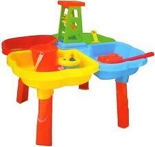 SAND & WATER 4 SECTION TABLE BUCKET SPADE KIDS OUTDOOR GARDEN SANDPIT SET 127