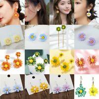 Fashion Daisy Flower Petal Tassel Drop Ear Stud Dangle Earrings Women Jewellry