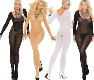 Elegant Moments Opaque Long Sleeved Crotchless Bodystocking
