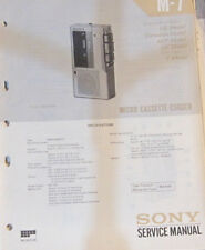 Sony M-7 Micro cassette recorder service repair workshop manual (original copy)