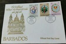 Barbados 1981 Royal Wedding (Charles & Diana) set on official FDC