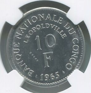 CONGO DEMOCRATIC REPUBLIC 10 FRANCS 1965 ESSAI NGC MS63 LEOPOLDVILLE