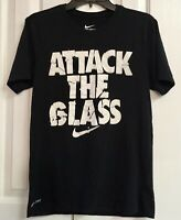 """Nike Tee Athletic Cut Dri Fit Men's Size S Black T-Shirt """"Attack The Glass"""""""