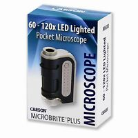 Carson Optical MM-300 Microbrite Plus 60X-120X LED-Lit Lighted Pocket Microscope