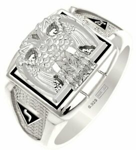 Customizable 0.925 Sterling Silver or Gold Masonic Scottish Rite Solid Back Ring
