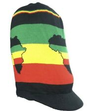 Map Africa Patch Rasta Long Tall Hat Jumbo Rastafari Jamaica Striped Tam XXL
