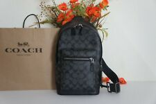 NWT Coach 2853 Men's West Pack Signature Canvas and Leather Charcoal Black $350