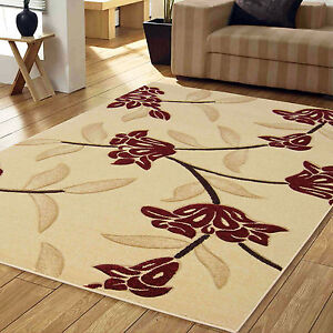 Small Large Modern Jasmine Floral Design Carved Rug 12mm Thick Beige Red Quality