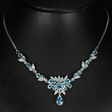 Sterling Silver Genuine Swiss Blue Topaz and Lab Diamond Necklace 18 Inch