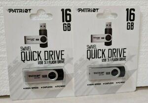 LOT OF 2 PATRIOT MEMORY 16GB QUICK DRIVE USB FLASH DRIVE PSF16GQDI3USB