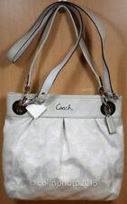 Coach Ashley Signature Op Art Hippie Linen Gray/Silver Shoulder Handbag 21021E