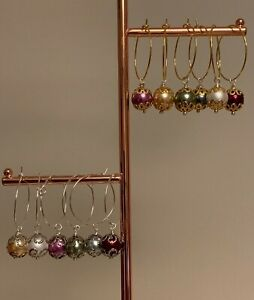 6 Gold Stardust Snowflake and Reindeer Wine Glass Charms Christmas