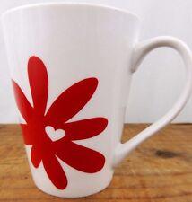 Starbucks Coffee Tea Mug White Ceramic Red Flower Daisy Heart 13 Oz 2014