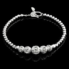 Lovely Diamond Cut Ball Beaded Bracelet in 925 Sterling silver 7in Adjustable