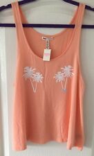 VICTORIA'S SECRET PINK Vest Top With Palm Tree Motif - Size S - BNWT - Peach
