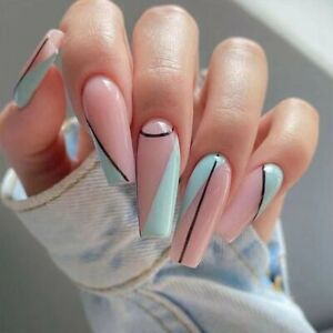 Simple Line Fake Nails Coffin Artificial Press On Nails Full Fingernails Tips