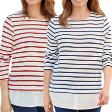 UK Sizes 8 - plus 34 Ladies Striped Knit Sweater Top with Hem in navy or red