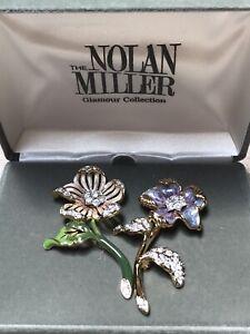 NOLAN MILLER Glamour Collection COUNTRY GARDEN FLOWER Pin Set BOX Brooch COA