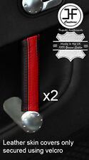 BLACK & RED STRIPE 2X FRONT DOOR HANDLE LEATHER COVERS FOR AUDI TT MK1 98-06