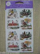 16 Gifted Line Vtg Stickers Winter Houses Homes Christmas Snow Ice John Grossman