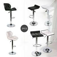 Set Of 2 Swivel Bar Stools Adjustable Hydraulic PU Leather Dining Chair kitchen