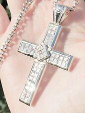 "STERLING SILVER Cross CZ's Chain Necklace Screws 28"" V/LARGE Biker Heavy 53.8g"