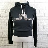 J Lindeberg Logo Cropped Hoodie Sweatshirt S/M Black White