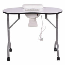 White Portable Vented Fan Manicure Table Nail Station Desk Beauty Hair Salon Spa