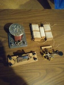 J H Bunnell brass legged telegraph key & Crystal RADIO lot