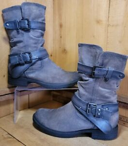 Earth Everwood Suede Mid Boot Womens Khaki / Grey Suede Mid Calf Boots 10