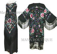 Dress Gown Silk Embroidered Flapper Style Black Multi Maya Matazaro M
