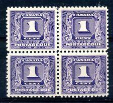 Weeda Canada J6 F/VF MNH 1c dark violet 1930-32 Postage Due block CV $101