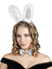 Hen Party Play Bunny Set Fancy Dress Costume Ears Headband and Bow Tie Silver