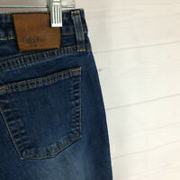 MOSSIMO womens size 11 stretch blue faded dark wash mid rise thick flare jeans