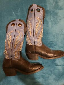 NOCONA Cowboy Boots 8 D Blue Leather Western Boots