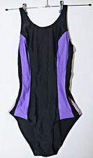 Traje de Disfraz Negro Púrpura Damas nadar Talles 34 UK6 Falcon Sportswear Traje de Baño