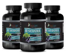 Natural Resveratrol Powder 1200mg Anti-Aging Antioxidant 3 Bottles 180 Capsules