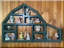 WOOD CURIO CABINET WALL HANGING SHELF MINIATURE DISPLAY FARM HOUSE BARN & COWS