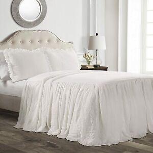 Lush Decor Ruffle Skirt Bedspread Full 3 Piece Set White Shabby Chic Farmhouse