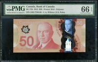 CANADA 50 DOLLARS ND 2012 P 109 POLYMER GEM UNC PMG 66 EPQ