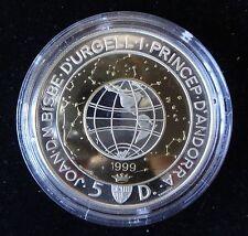 1999 SILVER BI-METAL PROOF ANDORRA 5 DINERS COIN + COA GLOBE THE MILLENNIUM