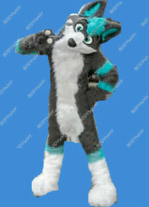 Fursuit Long Fur Wood Gray Wolf Husky Mascot Costume Suits Cosplay Party Dress