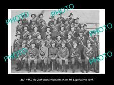 OLD POSTCARD SIZE PHOTO OF WWI AUSTRALIAN ANZAC SOLDIERS 5th LIGHT HORSE c1917