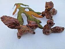 Vintage Porcelain Red Squirrel Animal Family of Three