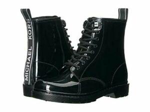 Michael Kors TAVIE Black MK Graphic Rain Bootie Ankle Boots Shoes Flats 7, 8, 10